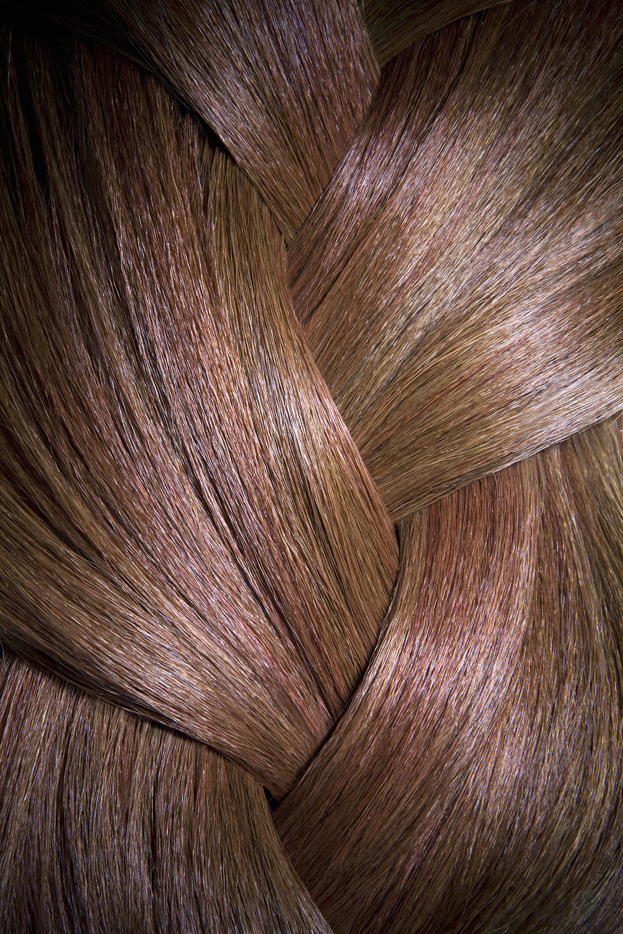 Close up section of shiny braided red hair.